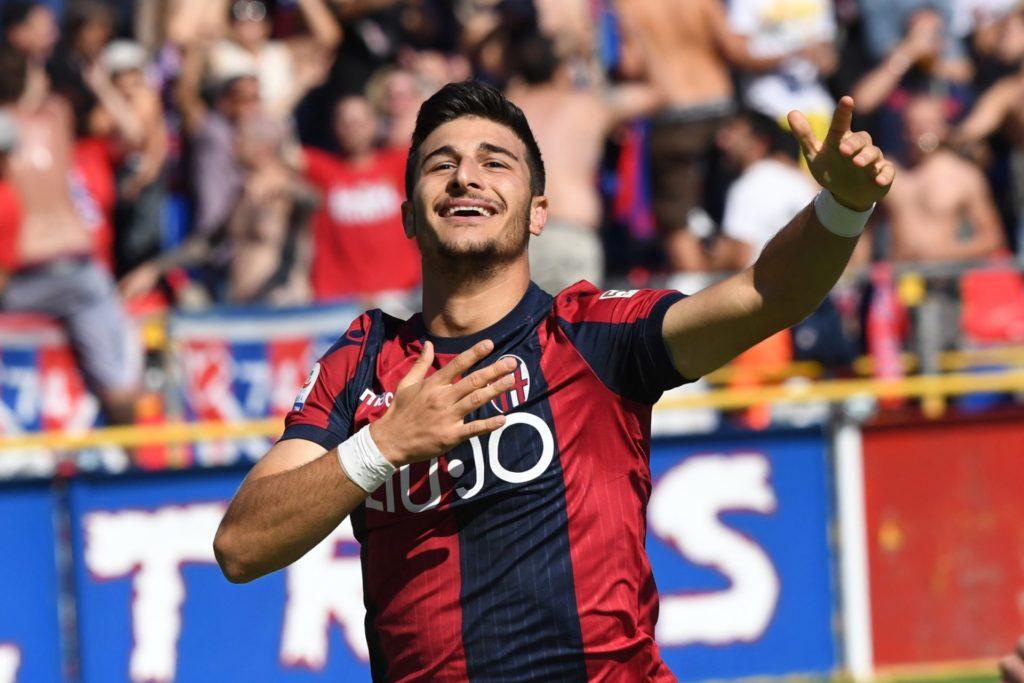 Esultanza Riccardo Orsolini primo gol bologna