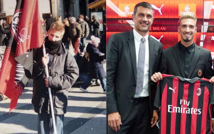 Samu Castillejo con bandiera Milan a San Siro da piccolo - Riserva di Lusso