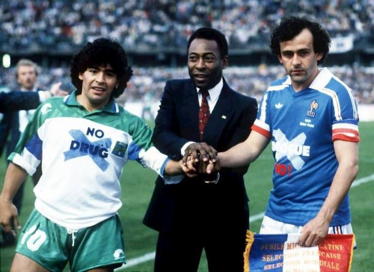 Maradona Pelé e Platini
