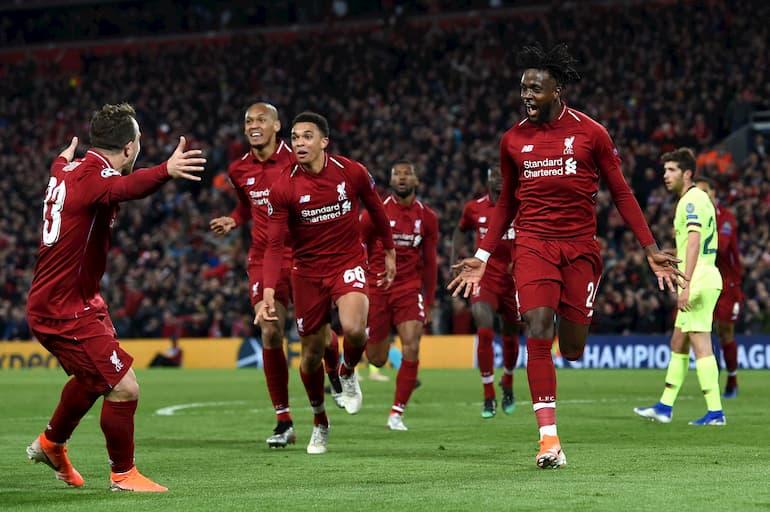 L'esultanza sfrenata dei Reds dopo il 4-0 di Origi (Foto: Paul Ellis/AFP via Getty Images - OneFootball)
