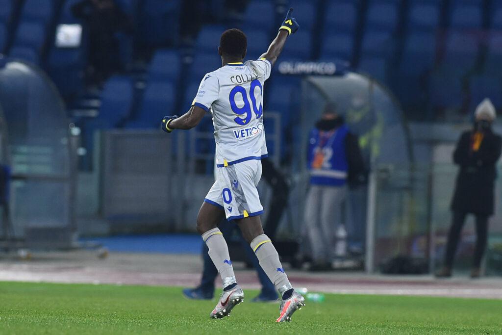 Colley esulta dopo il gol alla Roma: nella scorsa stagione ha giocato in maglia Atalanta
