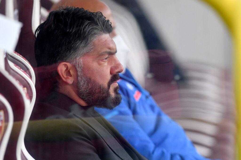 Gattuso assorto prima di una partita del Napoli