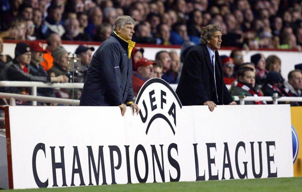 Wenger e Pellegrini durante la semifinale del 2006 tra Arsenal e Villarreal