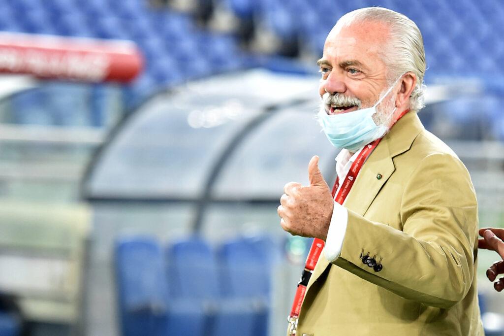 Il presidente del Napoli alla premiazione della Coppa Italia della passata stagione