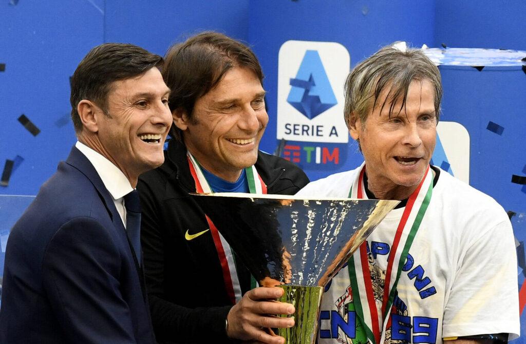 Zanetti, Conte e Oriali festeggiano lo Scudetto dell'Inter