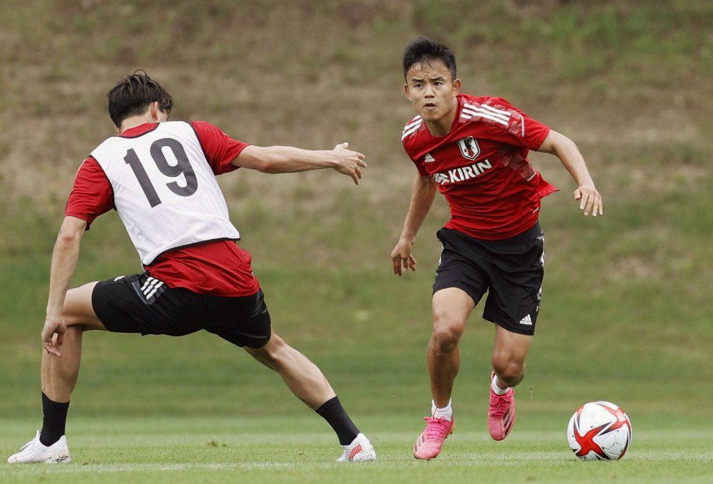 Kubo in allenamento. Il gioiellino del Real Madrid sarà una colonna su cui il Giappone poggerà le sue ambizioni di medaglia.