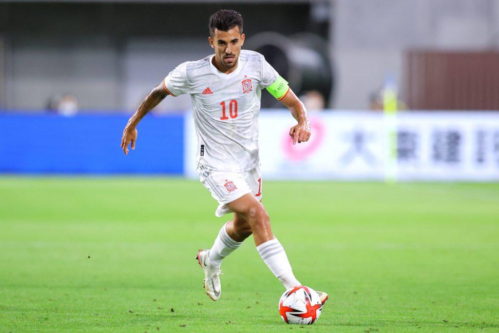 Dani Ceballos in azione contro il Giappone durante un'amichevole in preparazione dei Giochi Olimpici