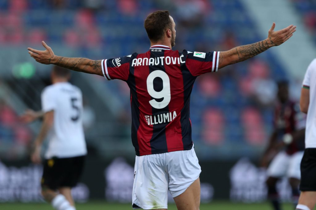 L'austriaco festeggia un gol con il Bologna