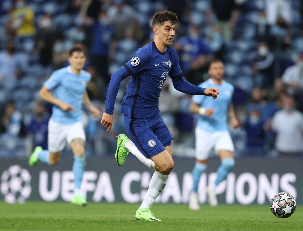 Havertz in fuga durante la finale tra Manchester City e Chelsea