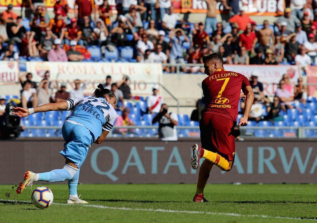 Il gol di tacco contro la Lazio